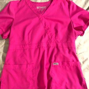 Greys Anatomy mock wrap scrub top- size L